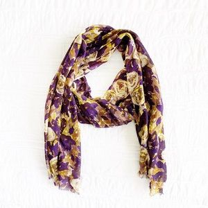 Lands End Purple & Gold Floral Wrap Scarf NWOT